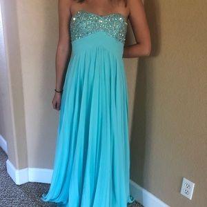 Strapless blue prom dress